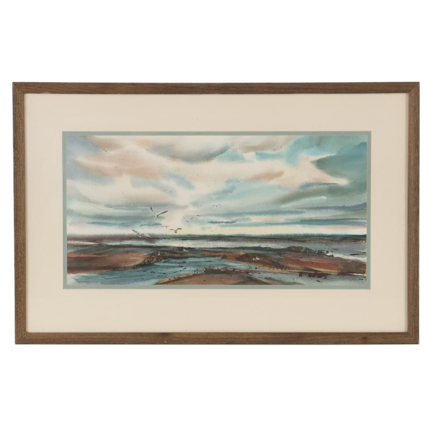 Seascape Watercolor Painting with Seagulls, Late 20th Century