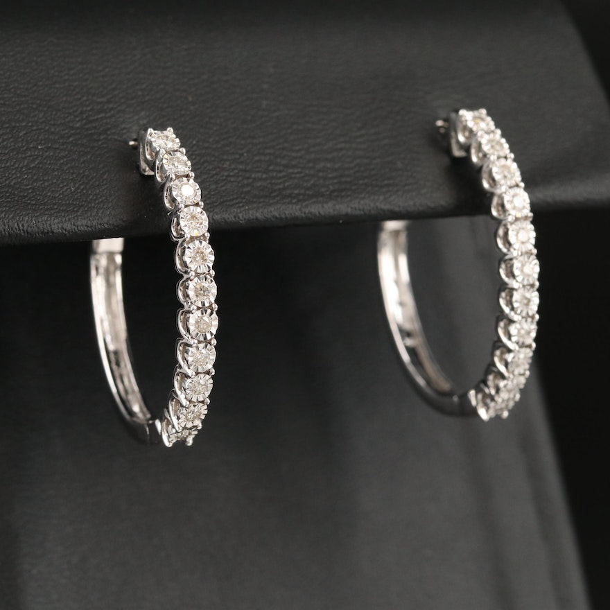 10K Diamond Illusion Set Oval Hoop Earrings