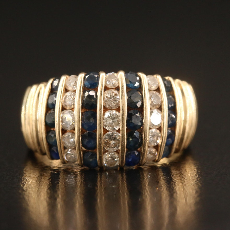 14K Channel Set Diamond and Sapphire Ring