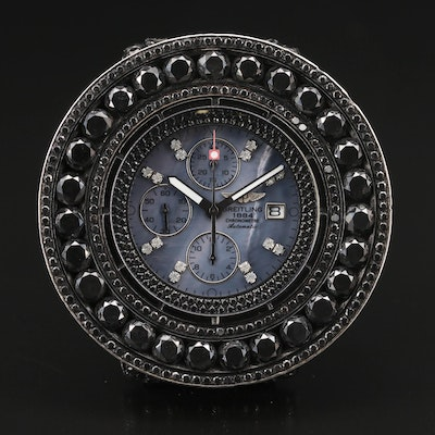 Custom Breitling Super Avenger XL 48.00 CTW Black Diamond Automatic Wristwatch
