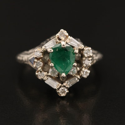 Vintage 14K Emerald, Sapphire and Diamond Ring