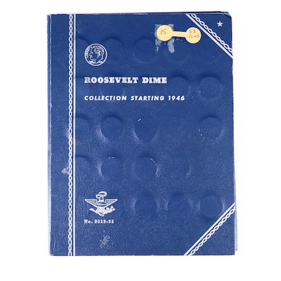 Complete Roosevelt Dime Collection in Whitman Folder, 1946 to 1969