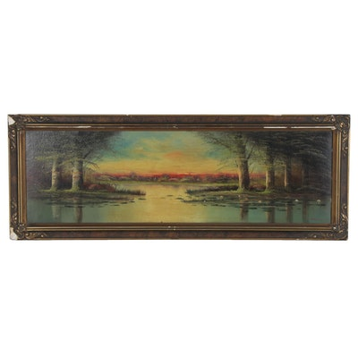 H.L. Herley Landscape Oil Painting of Lake at Sunset, Early 20th Century