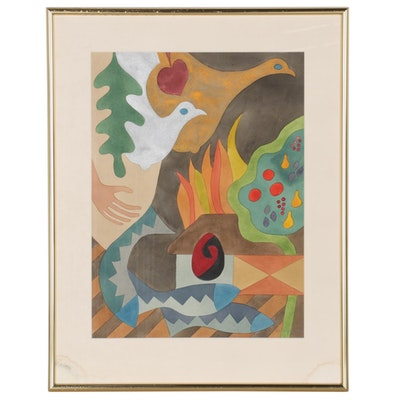 Embellished Abstract Watercolor Painting, Late 20th Century