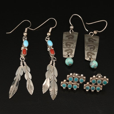 Southwestern Earrings Featuring Sterling, Turquoise and Coral