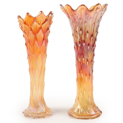 Two Carnival Glass Vases in Iridescent Marigold