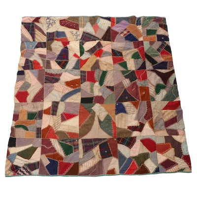 Handcrafted Embroidered Patchwork Crazy Quilt, Early 20th Century