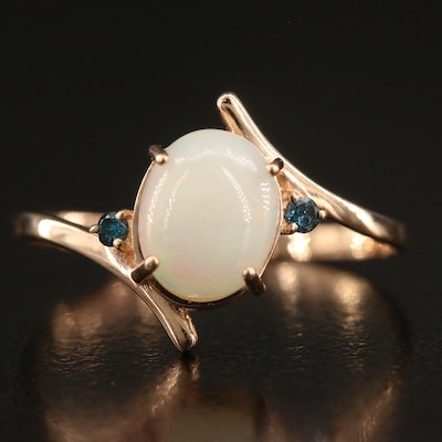 14K Opal and Blue Diamond Bypass Ring