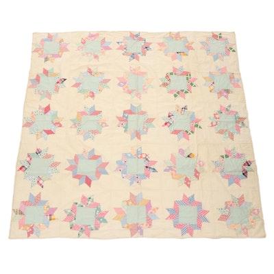 Hand-Pieced Multi-Point Star Pattern Quilt Top