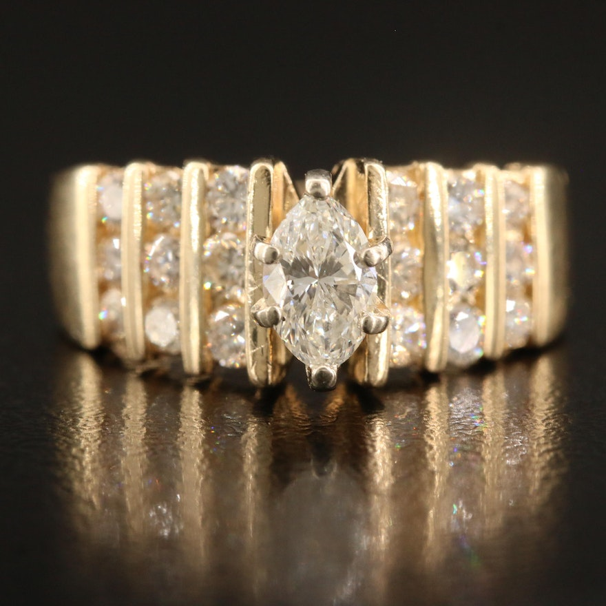 14K 1.35 CTW Diamond Ring with Channel Set Shoulders