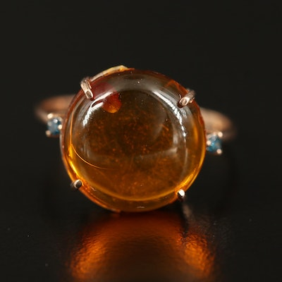 14K Amber and Diamond Ring