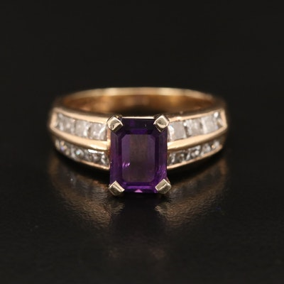 14K Amethyst and 1.00 CTW Diamond Ring