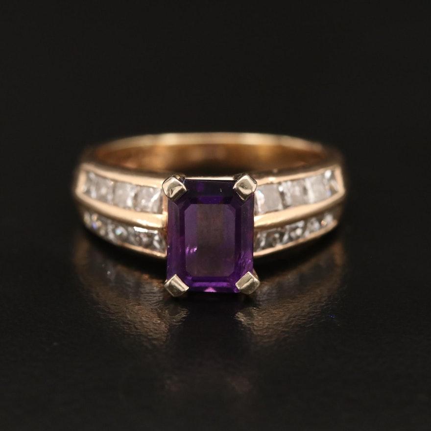 14K Amethyst and 1.00 CTW Diamond Ring