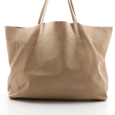 Céline Cabas Horizontal Tote Bag in Beige Lambskin Leather