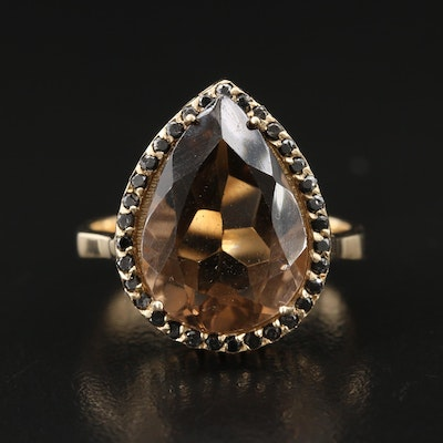 14K Smoky Quartz and Diamond Teardrop Ring
