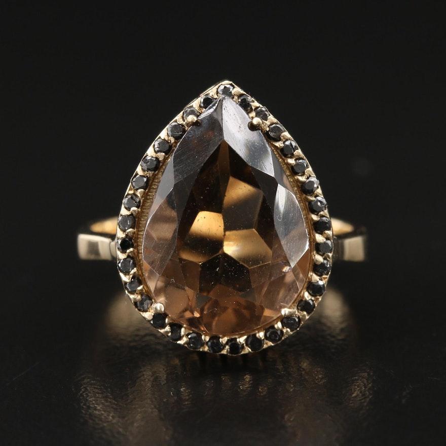 14K Smoky Quartz and Diamond Teardrop Ring