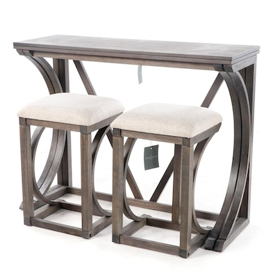 Standard Furniture Three-Piece Folding Bar with Barstools in Walnut Grey Finish