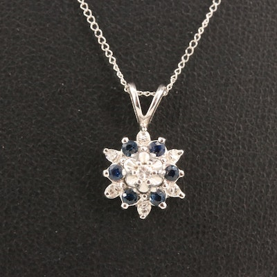 14K Diamond and Sapphire Necklace
