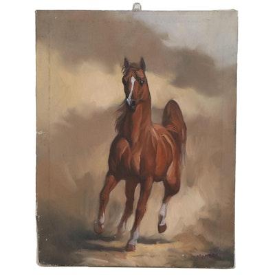 Equine Oil Portrait of Arabian Horse, 21st Century