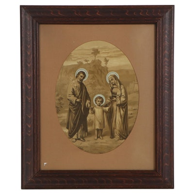 Lithograph of Jesus, Mary, and Joseph, Mid-20th Century