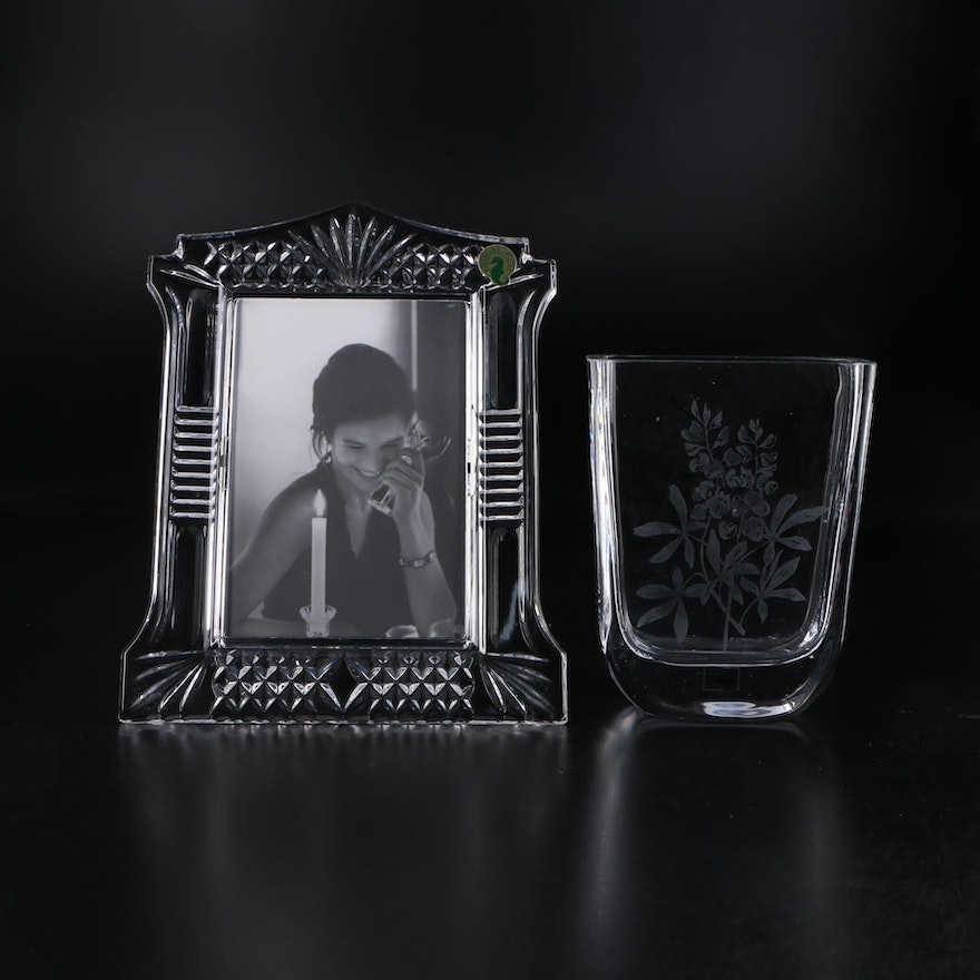 """Waterford """"Abbeville"""" Crystal Picture Frame with Sea of Sweden Etched Glass Vase"""