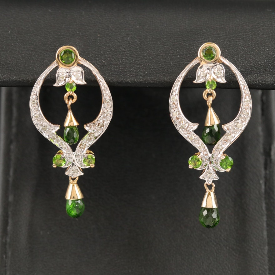 10K Diamond and Diopside Drop Earrings