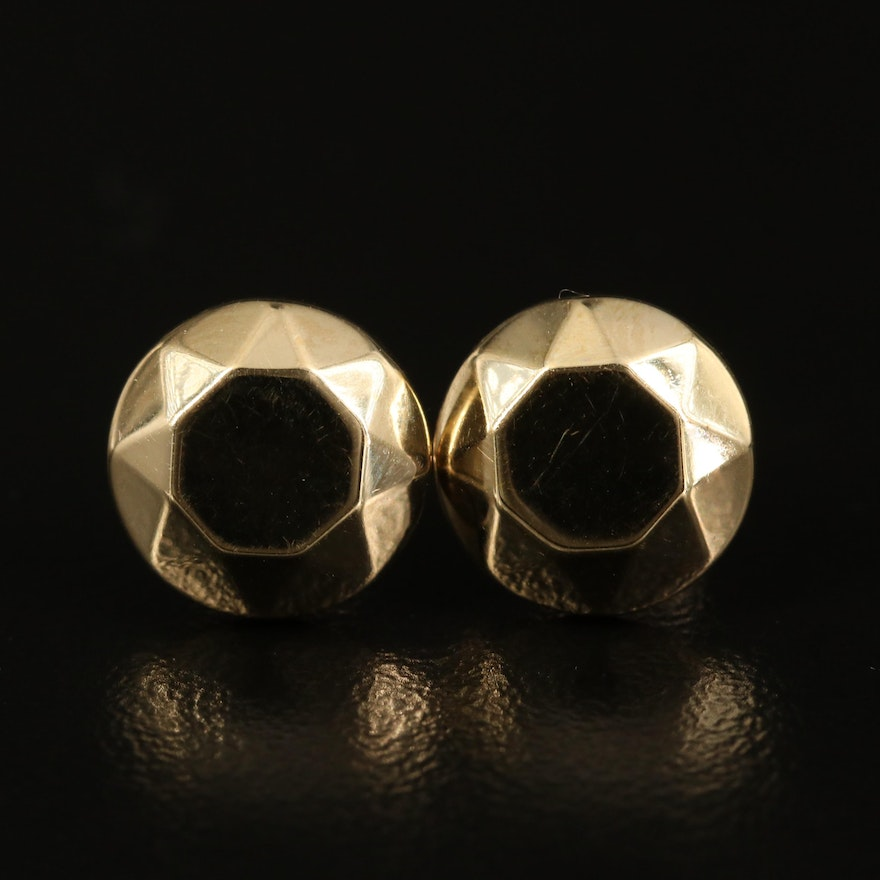 14K Faceted Dome Stud Earrings