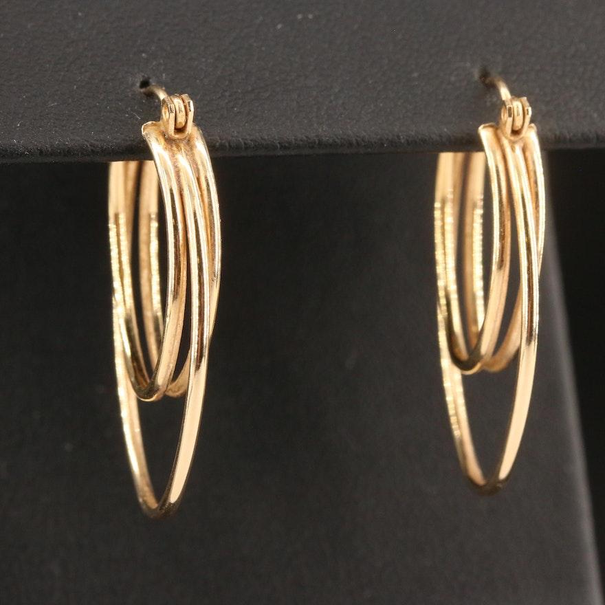 14K Oblong Double Hoop Earrings