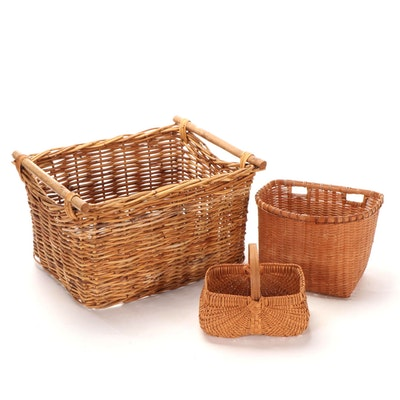 Three Rattan and Cane Wicker Baskets