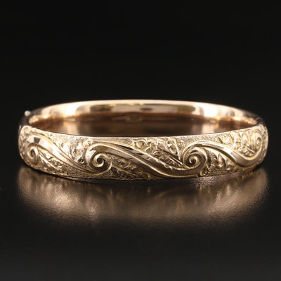 1920s Bastian Bros. Company Hinged Leaves and Scrollwork Bangle