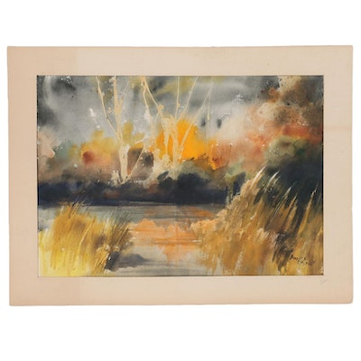 June Deist Abstract Watercolor Landscape, Late 20th Century
