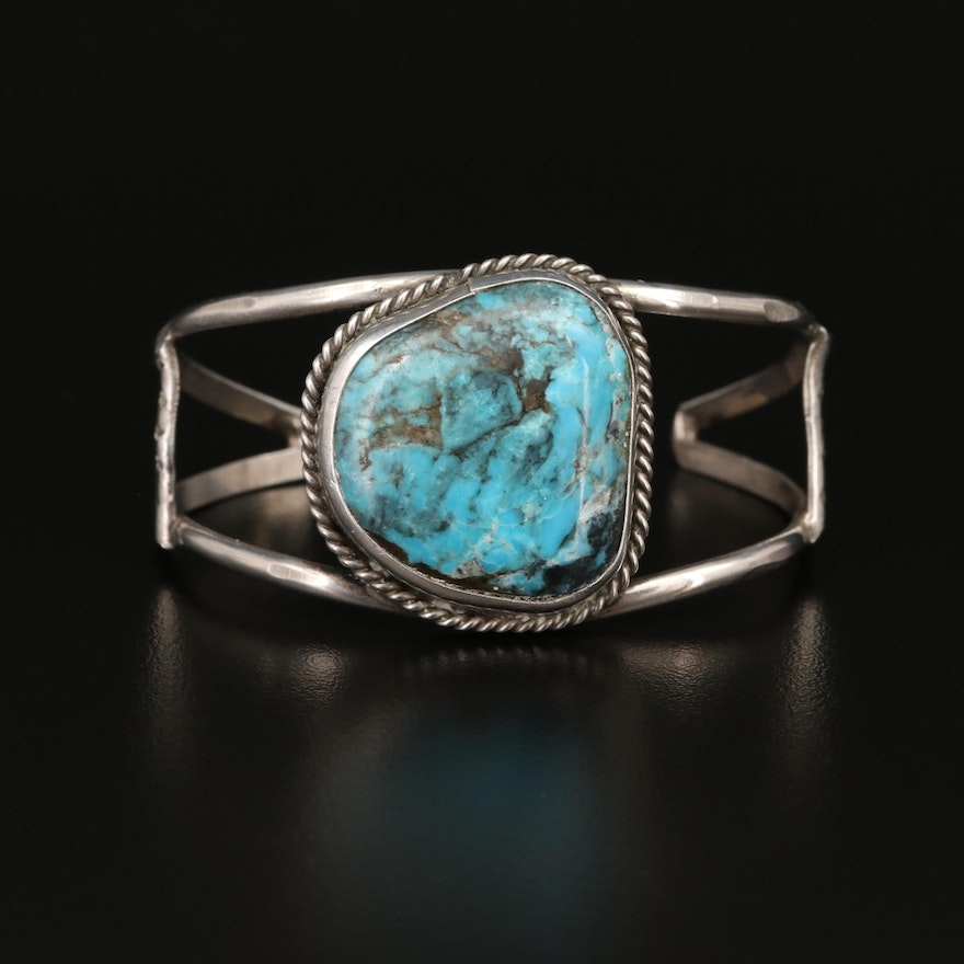Sterling Silver Bezel Set Turquoise Cuff with Rope Detailing