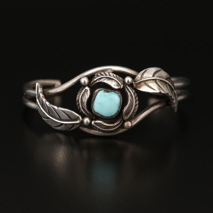 Sterling Silver Turquoise Cuff with Leaf Accent