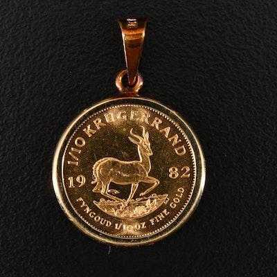1982 1/10th oz Gold Krugerrand Bullion Coin Pendant