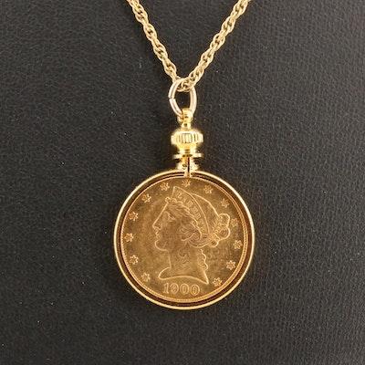 1900 Liberty $5 Gold Half Eagle Pendant