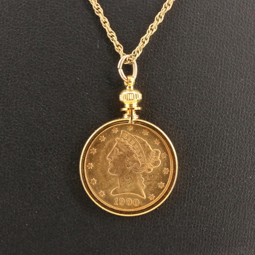 1900 Liberty $5 Gold Half Eagle Pendant