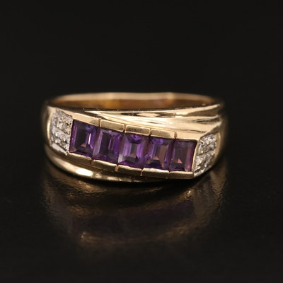 Vintage 14K Amethyst and Diamond Band
