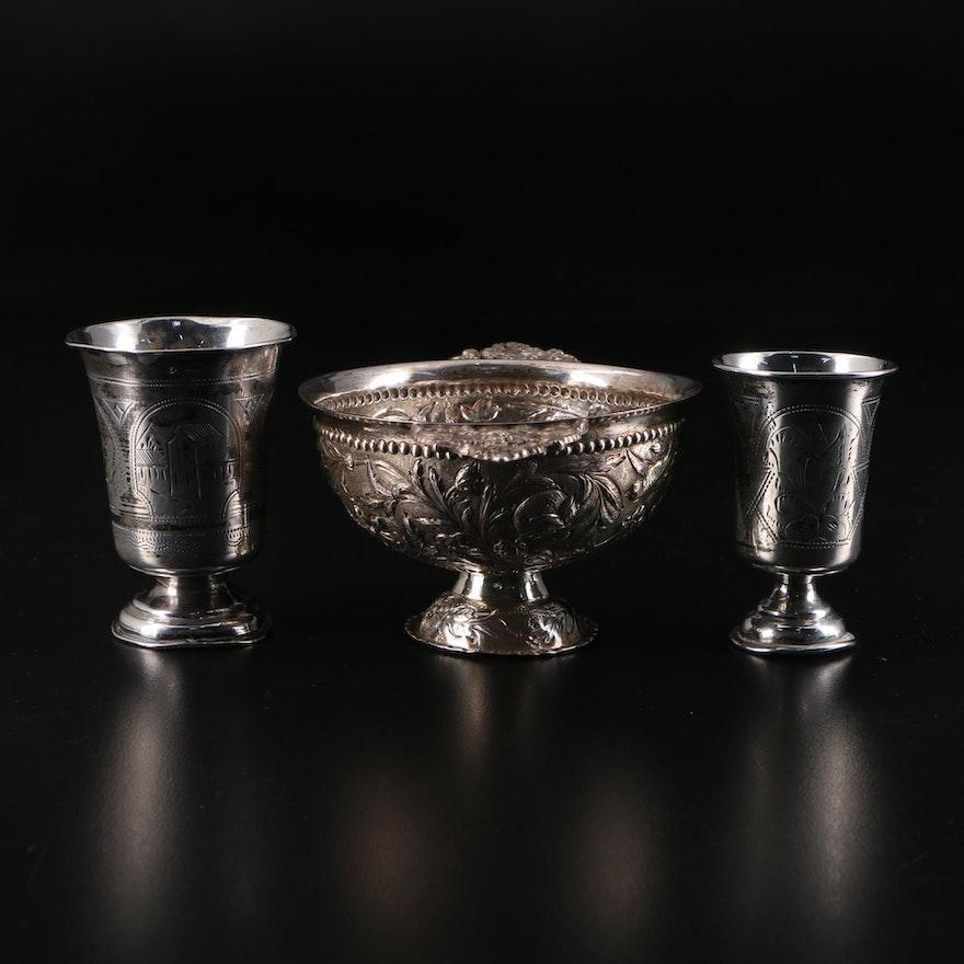 Russian 84 Zolotniki Silver Cups and Dutch 833 Silver Twin Handle Porringer