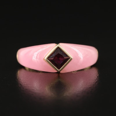 14K Garnet with Jadeite Shank Ring