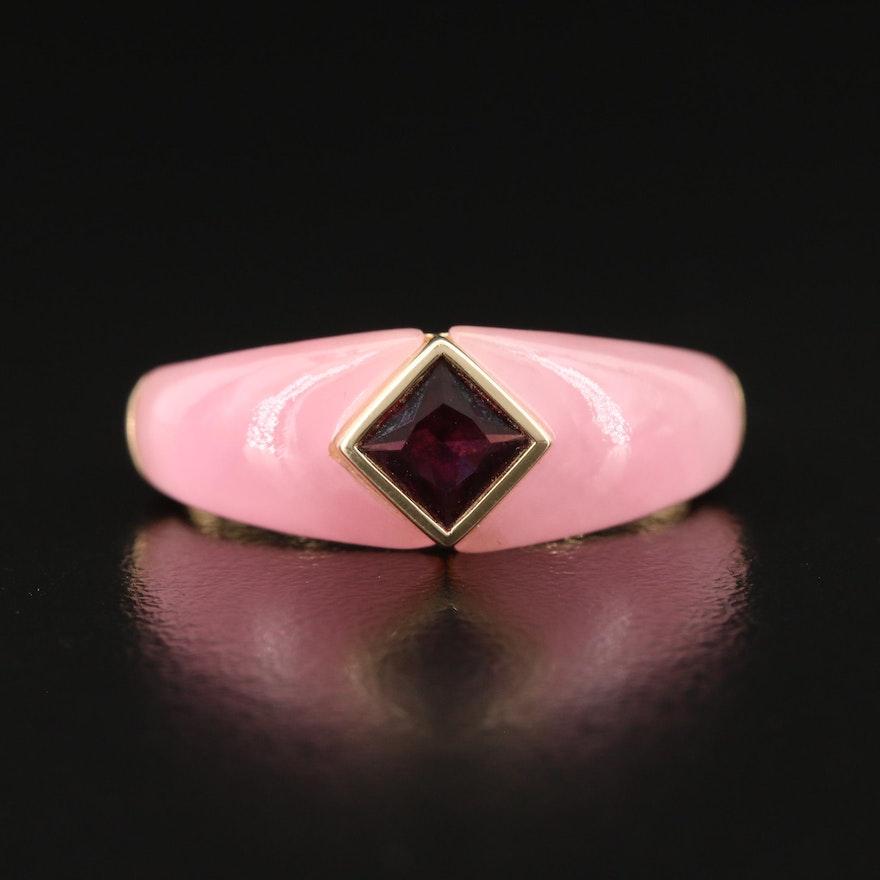 14K Garnet with Jadeite Shank Ring