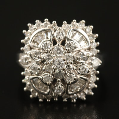 14K 1.45 CTW Diamond Cluster Ring