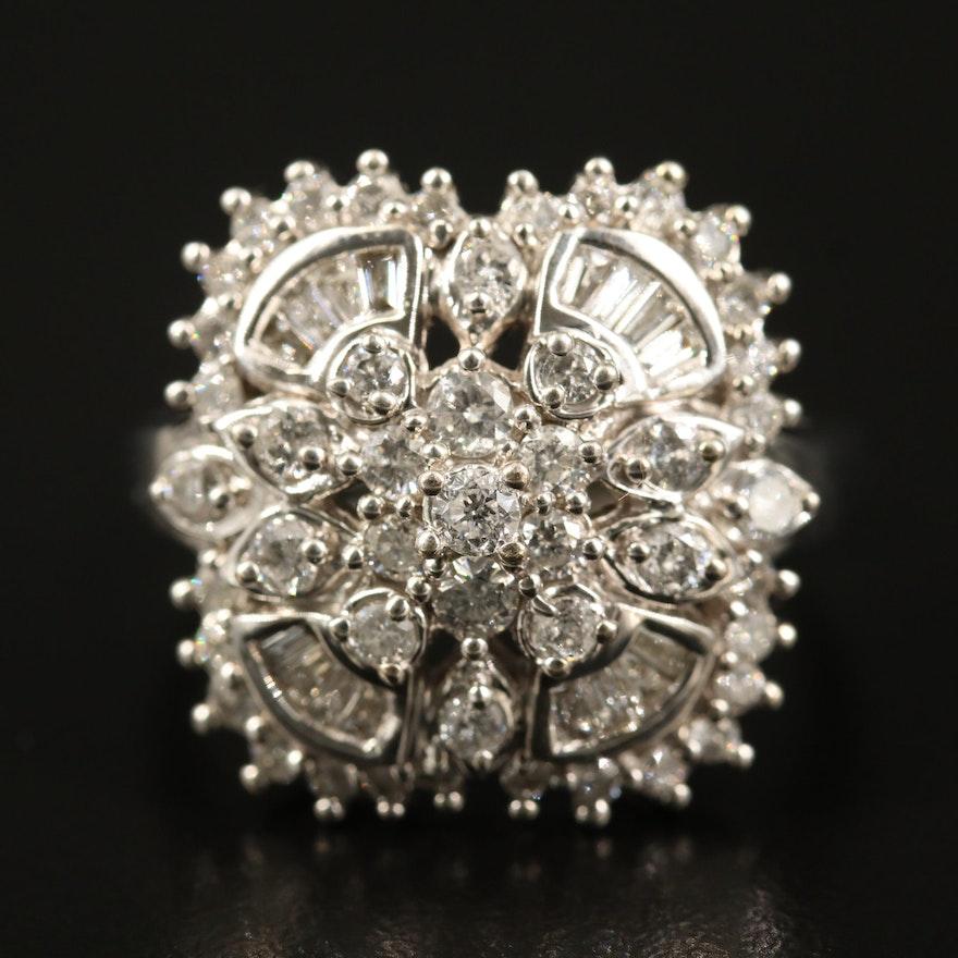 14K 1.45 CTW Diamond Cluster Ring