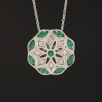 14K Diamond and Emerald Pendant Necklace