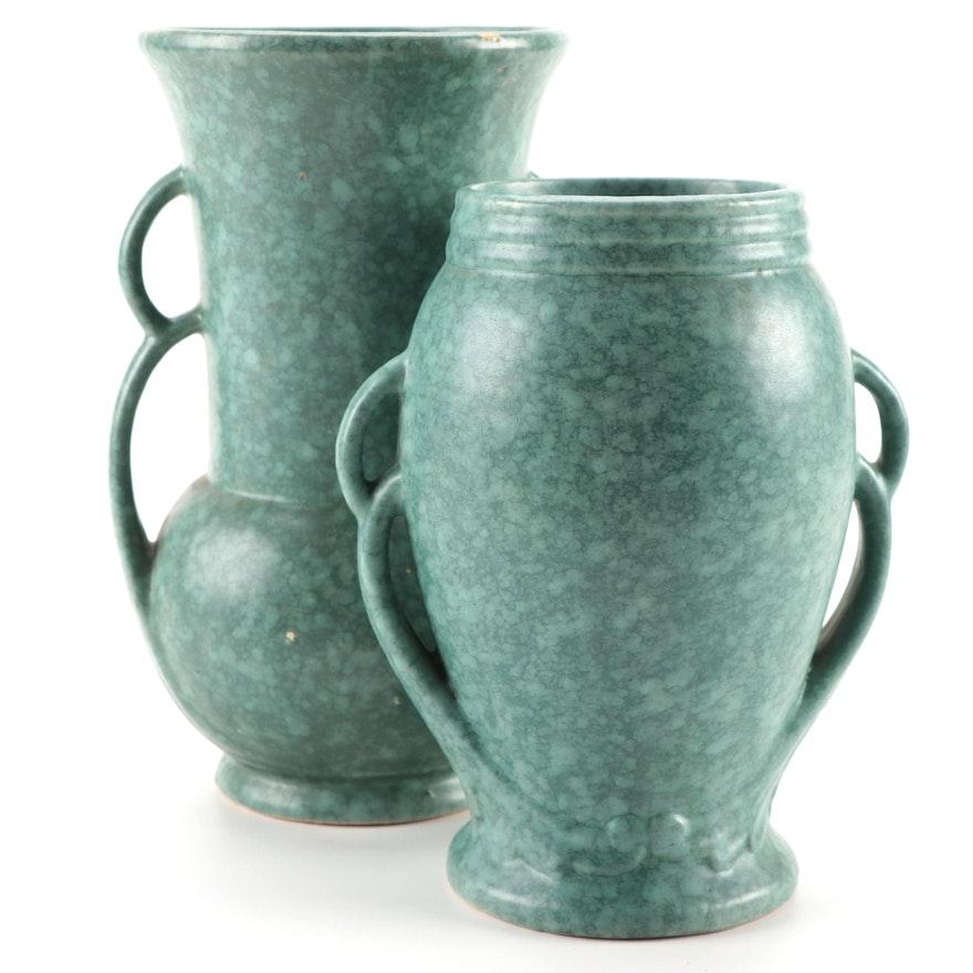 Mottled Green Glaze Ceramic Vases, Mid-20th Century