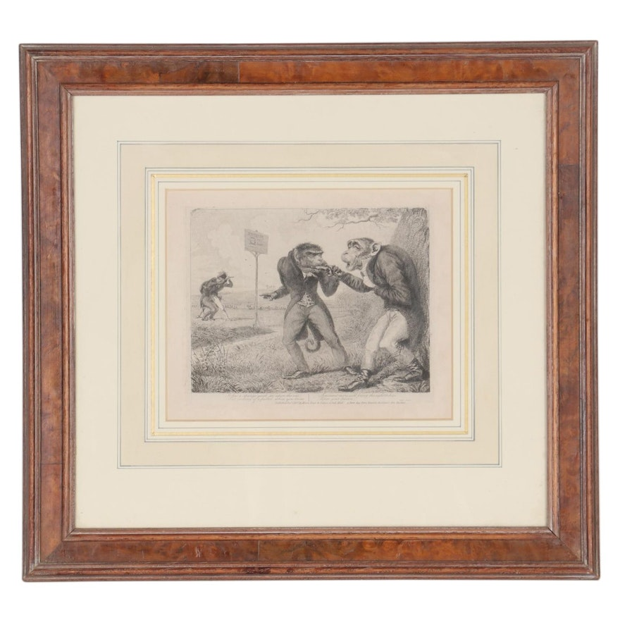 "Thomas Landseer Etching from ""Monkey-ana, or Men in Miniature,"" 1827"