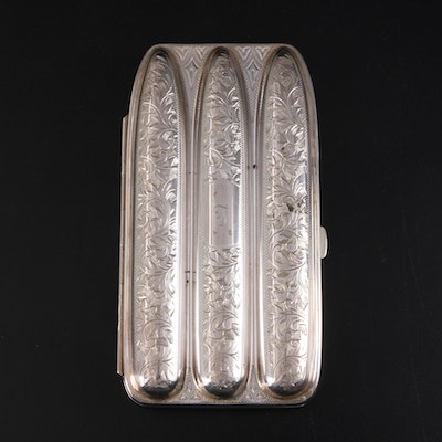 Victorian Engraved 950 Silver Three Part Cigar Case