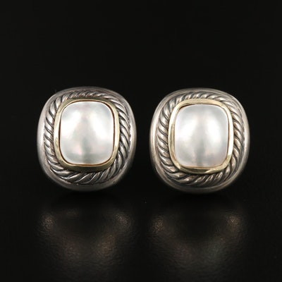 "David Yurman ""Albion"" Sterling Silver Pearl Earrings with 14K Accents"