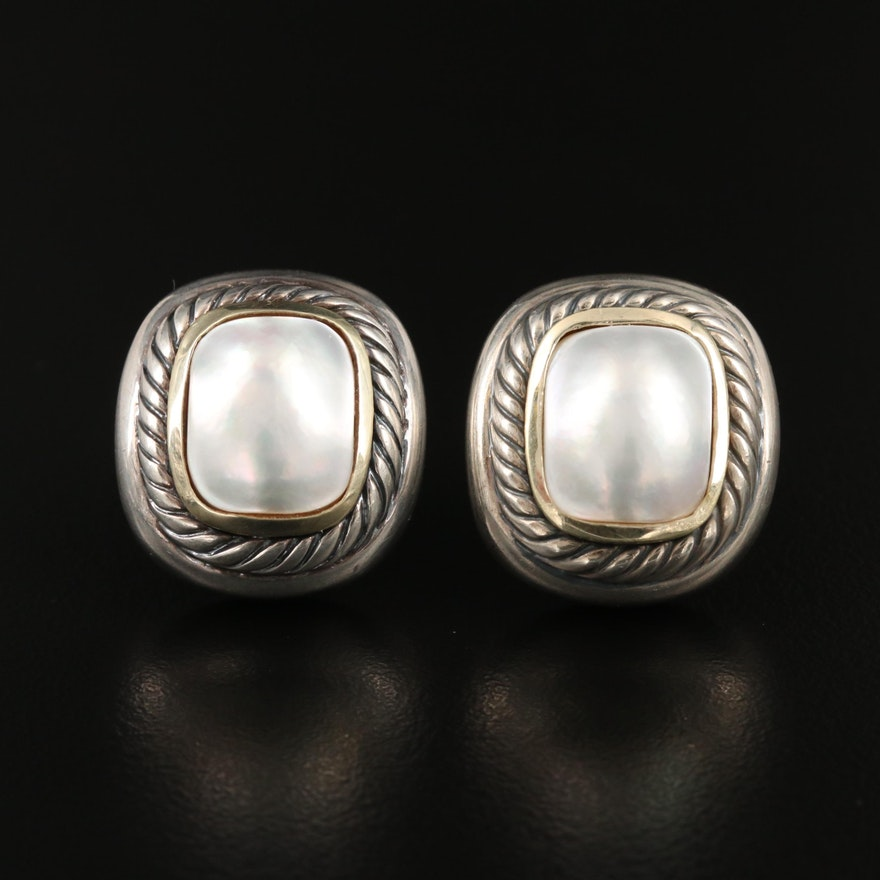 """David Yurman """"Albion"""" Sterling Silver Pearl Earrings with 14K Accents"""