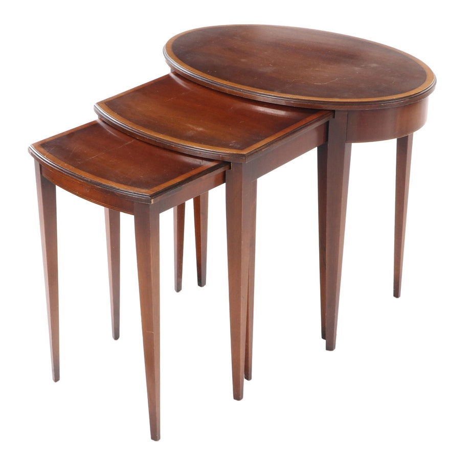 Three Federal Style Mahogany Graduated Side Tables, 20th Century