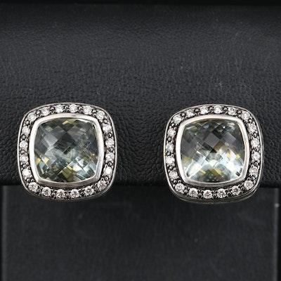 "David Yurman ""Albion"" Sterling Silver Prasiolite and Diamond Earrings"
